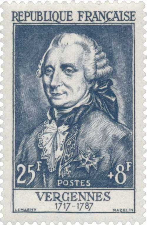 circa 1955 - French postage stamp of Charles Gravier,  Comte de Vergennes (image from Wiki Timbres)