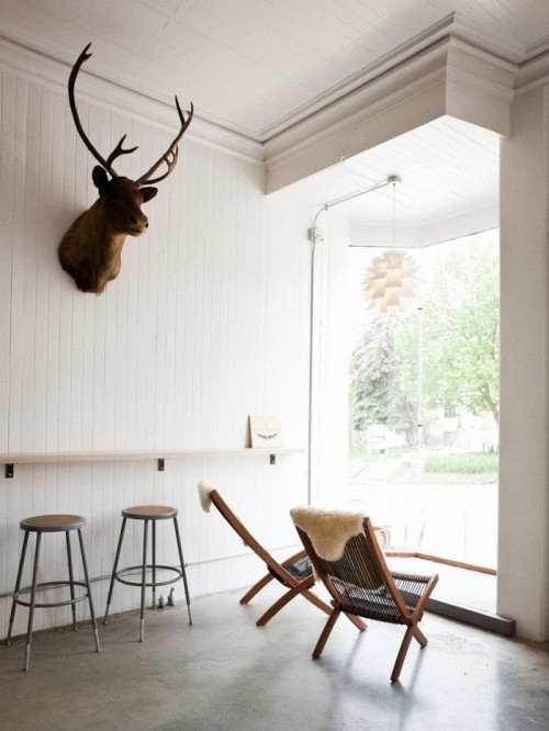 Crisp white Vergennes Laundry interior with Benjamin, the antique caribou in pride of place (image by Corey Hendrickson)