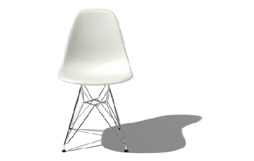 Eames moulded plastic chair with eiffel base by Charles Eames (image by Herman Miller)