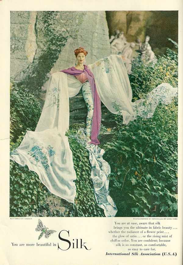 A cutting from a 1950s magazine shows how well a hint of Pantone Radiant Orchid works amongst a sea of green (image source unknown)