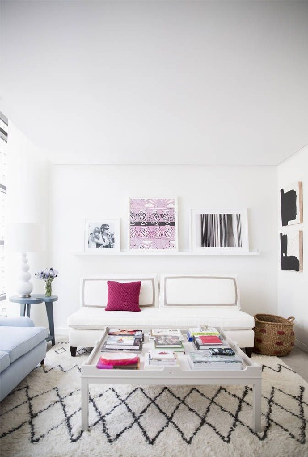 accent of Radiant Orchid in the living room of Eva Chen editor in chief of Lucky (photo by Brittany Ambridge via Domino)