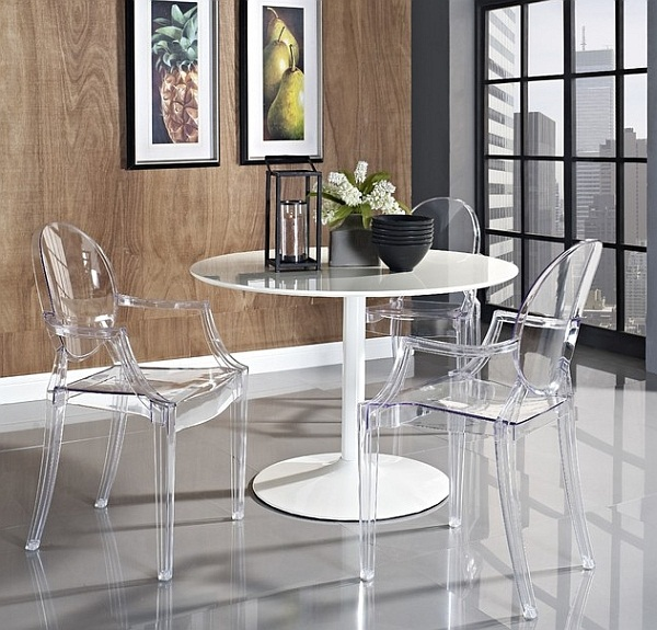 small dining space with Louis Ghost chairs by Philippe Starck (image by LexMod)